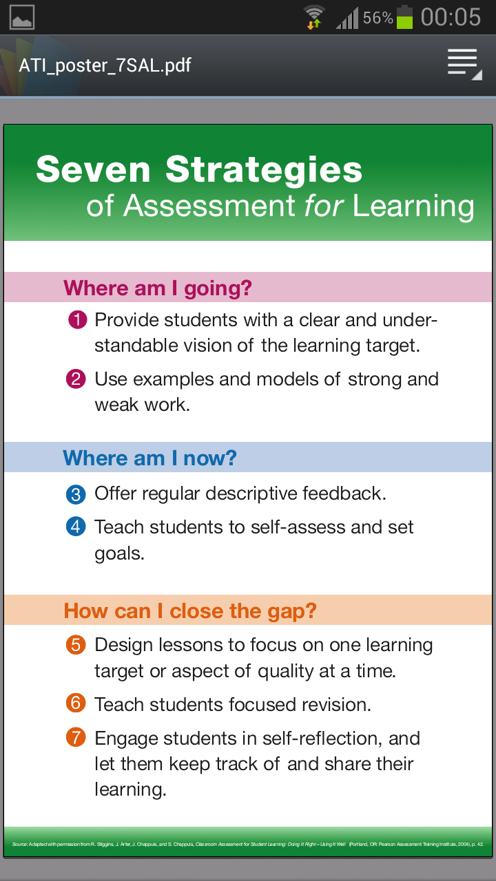 Afl  Strategies  School Days Assessment    Teaching