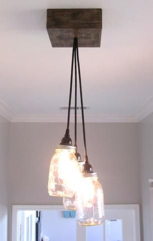 Cluster 3 mason jar ceiling light chandelier out of the woodwork designs