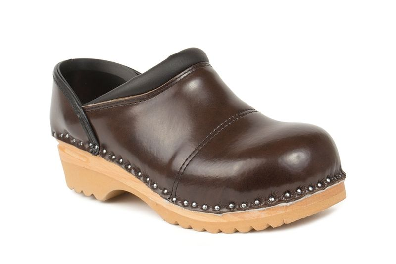 """/""""MaRited/"""" Genuine Black Leather Wooden Sole Swedish style Clogs womens//mens"""