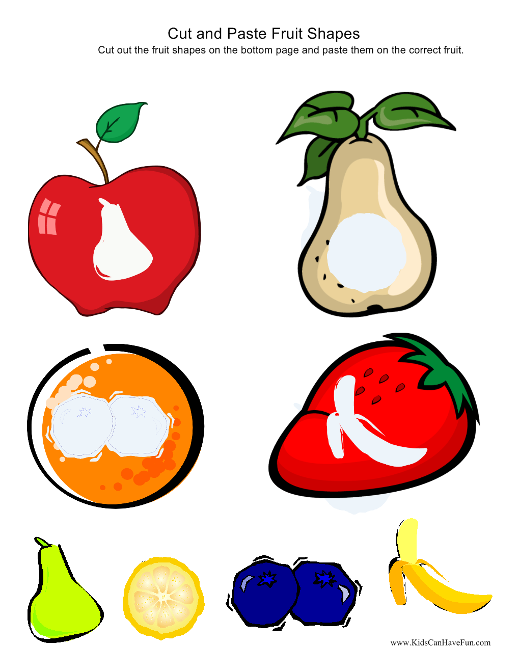 Cut and Paste Fruit Shapes