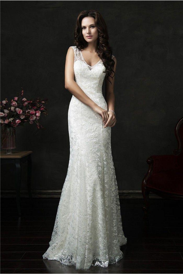 Slim Mermaid V Neck Sheer Back Vintage Lace Wedding Dress With Buttons