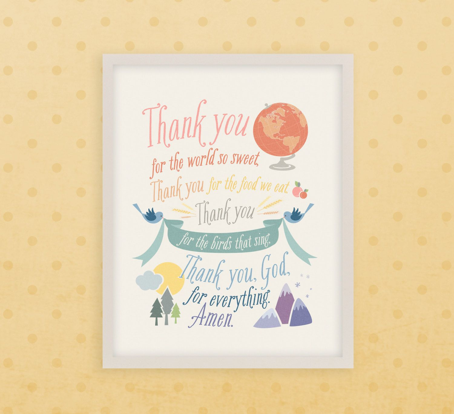 Children\'s Prayer 8x10 /// Thank You for the World So Sweet ...