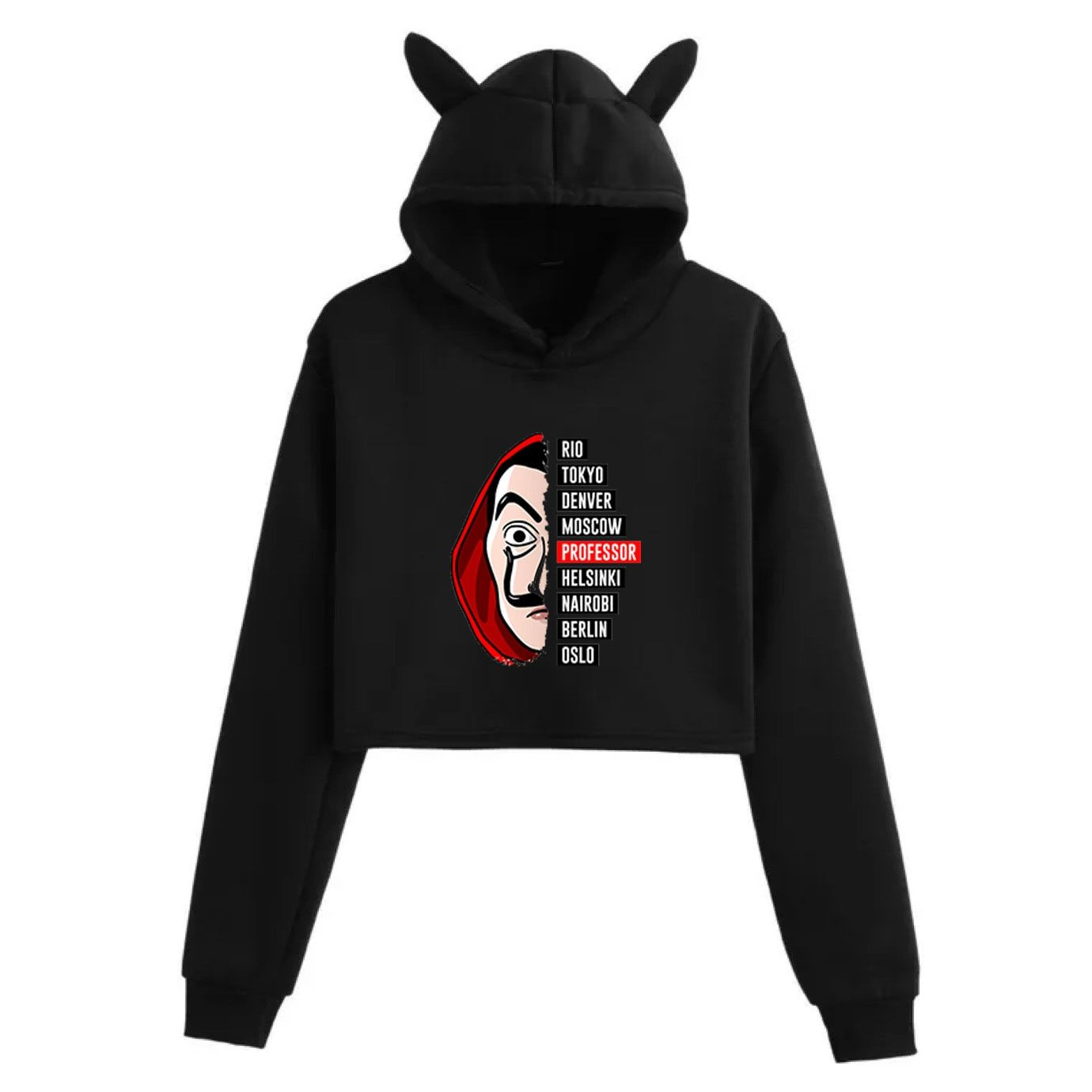 17 35us New Money Heist Hoodies The House Of Paper La Casa De Papel Vogue Casual Dali Mask Casa De Papel Women Cropped Top Sweatshirt Hoodies Sweatshirts Crop Top Sweatshirt