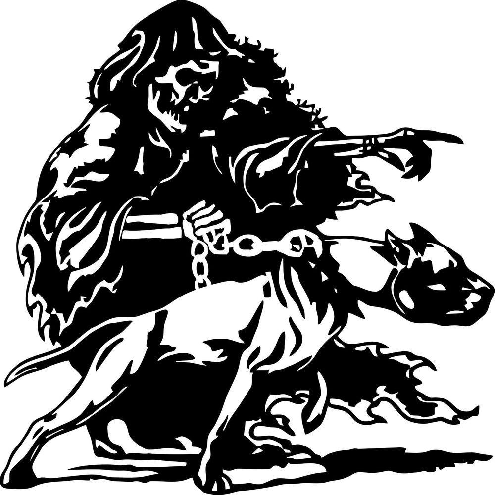 Grim Reaper Pitbull Dog Chain Monster Skull Car Truck Window Vinyl