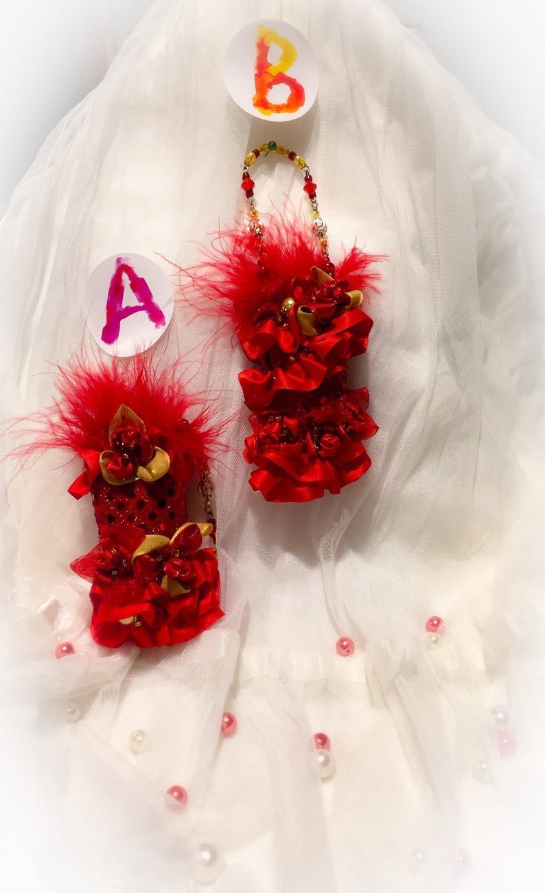 Red Feathers Christmas Tree Cutting 2020 Ornament Red Gold Dress Ruffles Christmas Tree Holiday in 2020