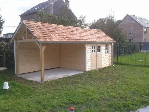 abri de jardin avec auvent pour abriter une terrasse baulers abris de jardin pinterest. Black Bedroom Furniture Sets. Home Design Ideas