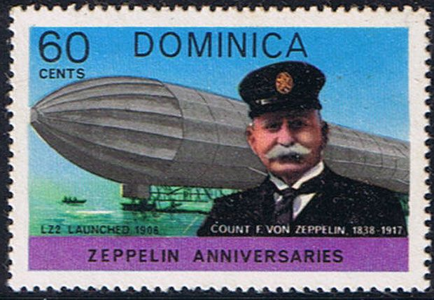 Stamp issued by Dominica in 1978 showing LZ 1. Photo by Rudy Pinto at aerophilatelist.blogspot.com