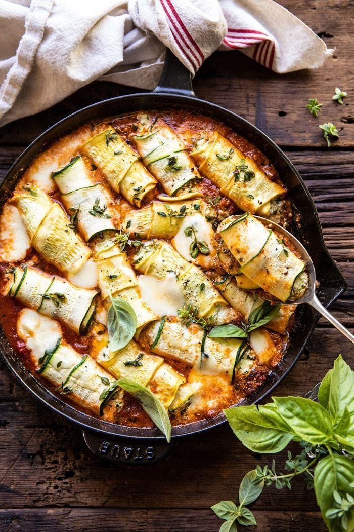 Spicy Pesto and Cheese Stuffed Zucchini Involtini