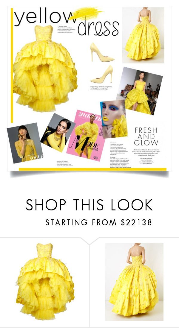 """""""Yellow dress💛"""" by ebby13 ❤ liked on Polyvore featuring Mikael D, Casadei, Dunn, Giambattista Valli and Ÿù"""