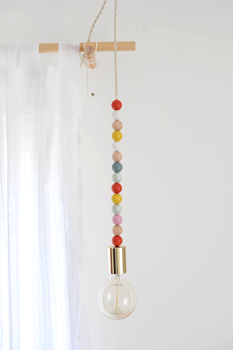 Diy wooden bead pendant light déco pinterest wooden beads