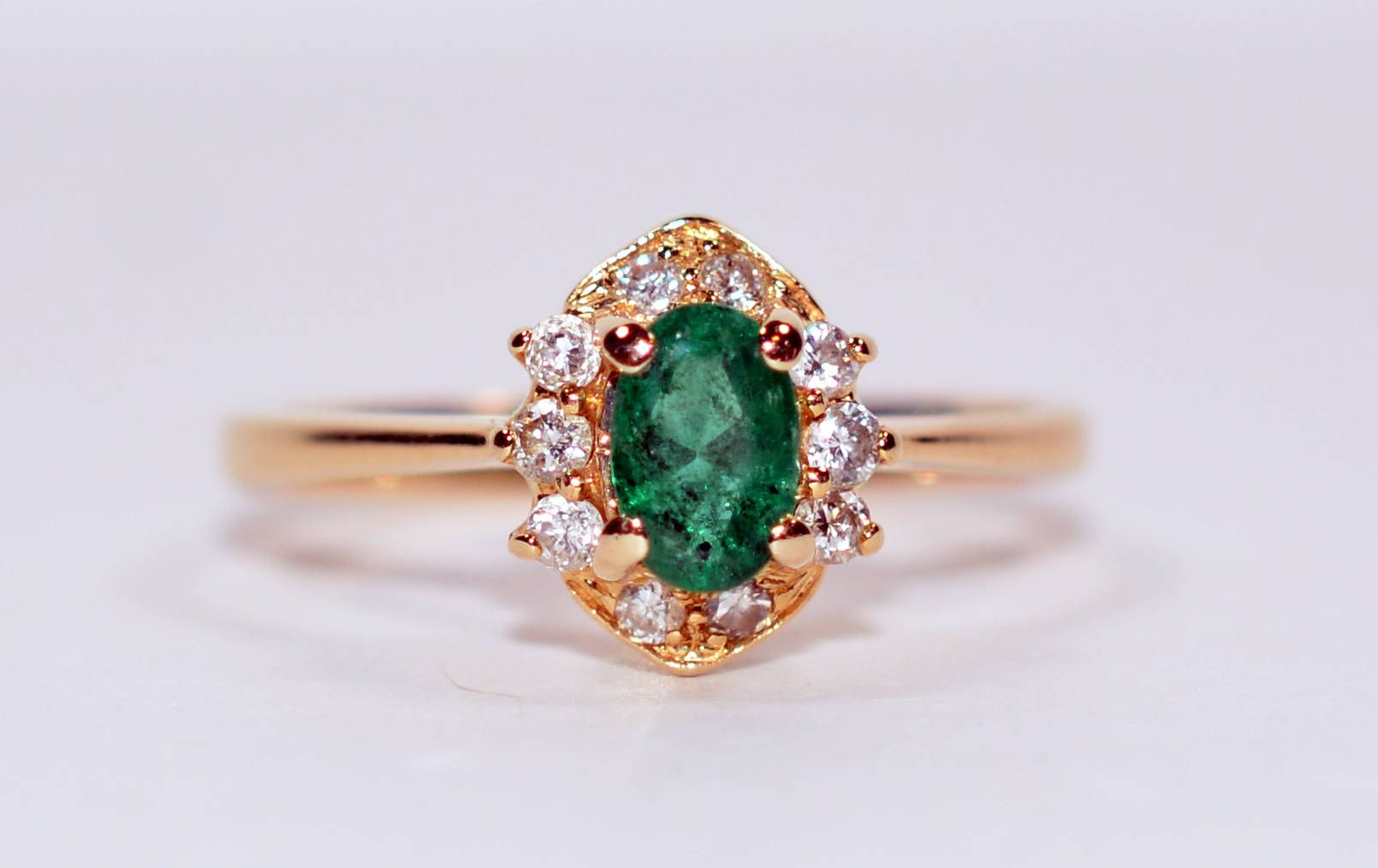 40% OFF SALE with free resizing!! Vivid .60tcw Colombian Emerald & Diamond 14kt Yellow Gold Ring by gemcitygems on Etsy