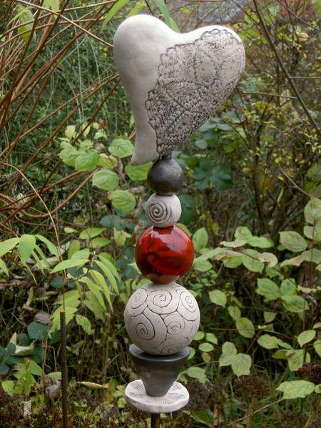 keramik stele,dekoration,getöpfert,handarbeit,garten,rosenkugel, Hause und garten