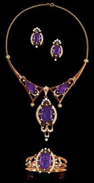 A Renaissance Revival amethyst, pearl and gold parure, late 19th century. Consisting of a necklace, a bangle and a pair of earrings. #RenaissanceRevival #Victorian #necklace #bangle #earrings