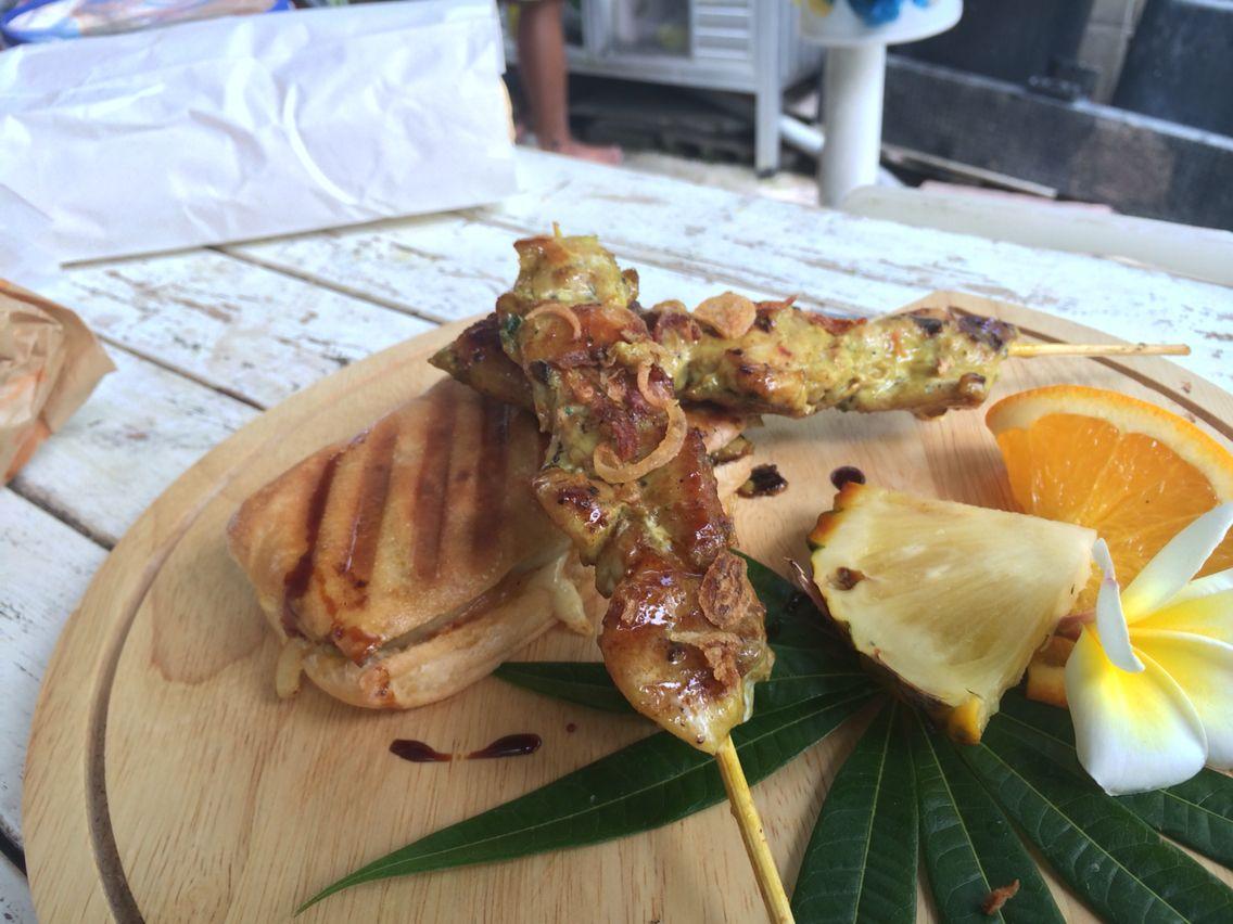 Moroccan satay chick rand panini