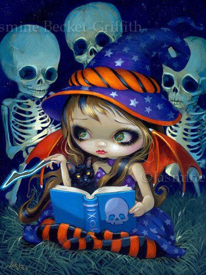 Skeleton Magic Halloween Witch fairy big eye Black Cat fantasy art print by Jasmine Becket-Griffith 12x16 BIG. $29.99, via Etsy.