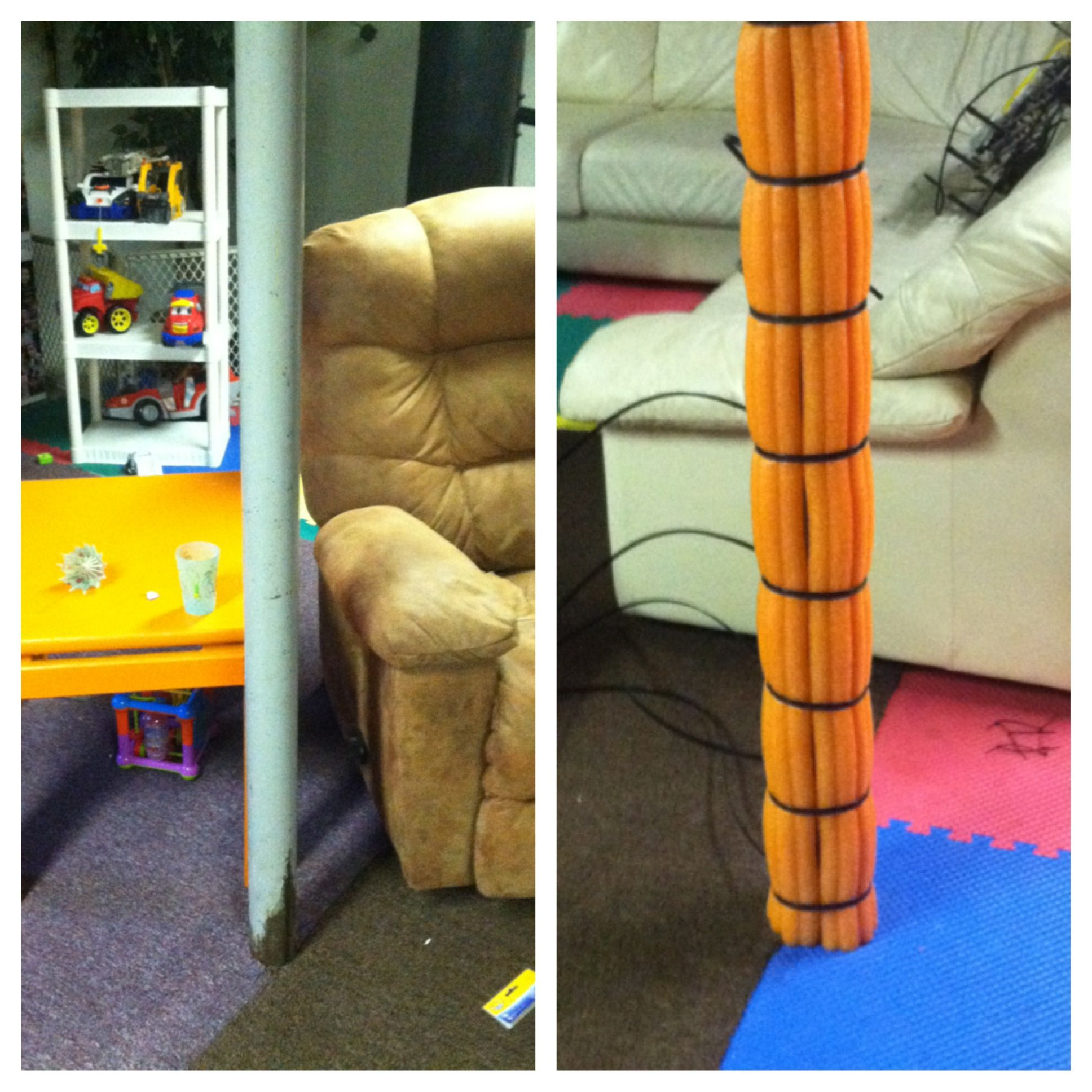 Inexpensive Solution In Our Playroom, To Cover The Metal Poles