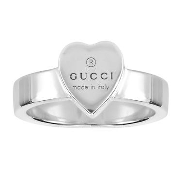 9770096fd Gucci Trademark Engraving Heart Shape Ring, in Sterling Silver ...