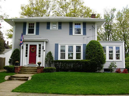 Colonia House Red Door Blue Shutters For The Home Pinterest Gray House Exterior Blue Shutters Green Exterior House Colors