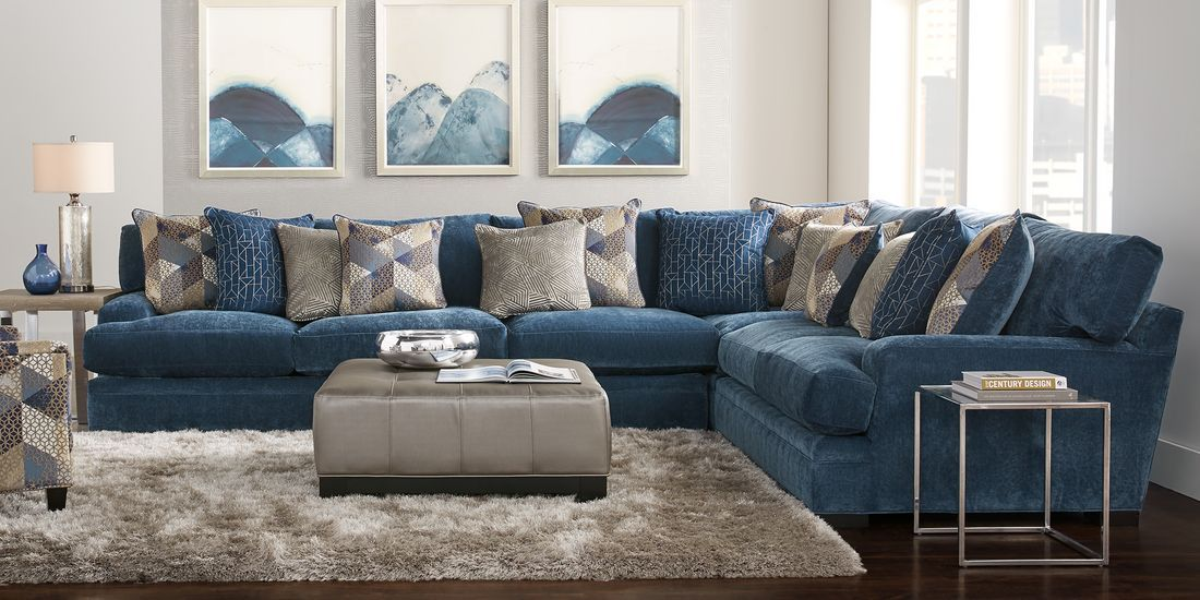 Cindy Crawford Home Beverlywood Navy 4 Pc Sectional Living Room Sectional Contemporary Decor Living Room