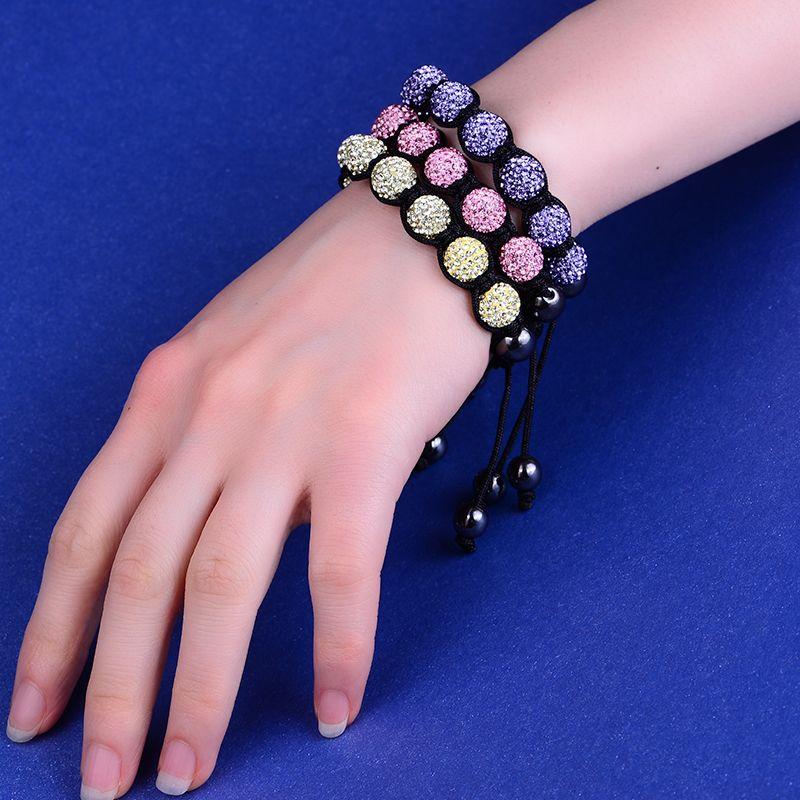 Brilliant crystal beads bracelet for women, rope bracelet.