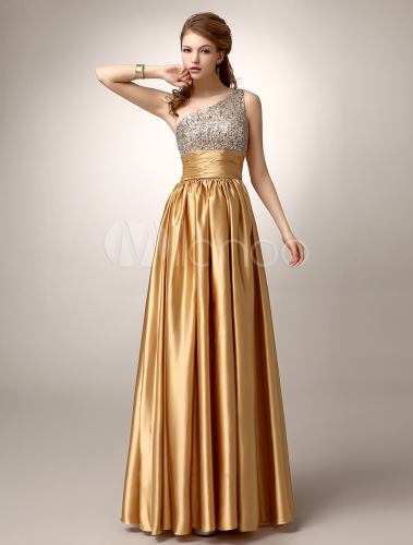 Gold One-Shoulder Pleated Satin Prom Dress | vestidos de 15 y prom ...