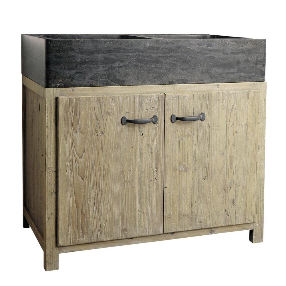 Mobile basso da cucina in pino riciclato con lavello L 90 | Legno ...