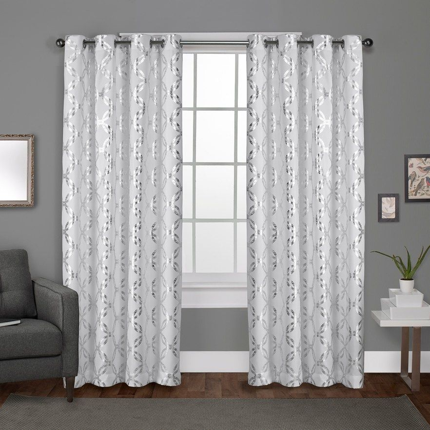 Exclusive Home 2 Pack Modo Metallic Geometric Window Curtains White 54x108 Drapes Curtains Home Curtains Curtains