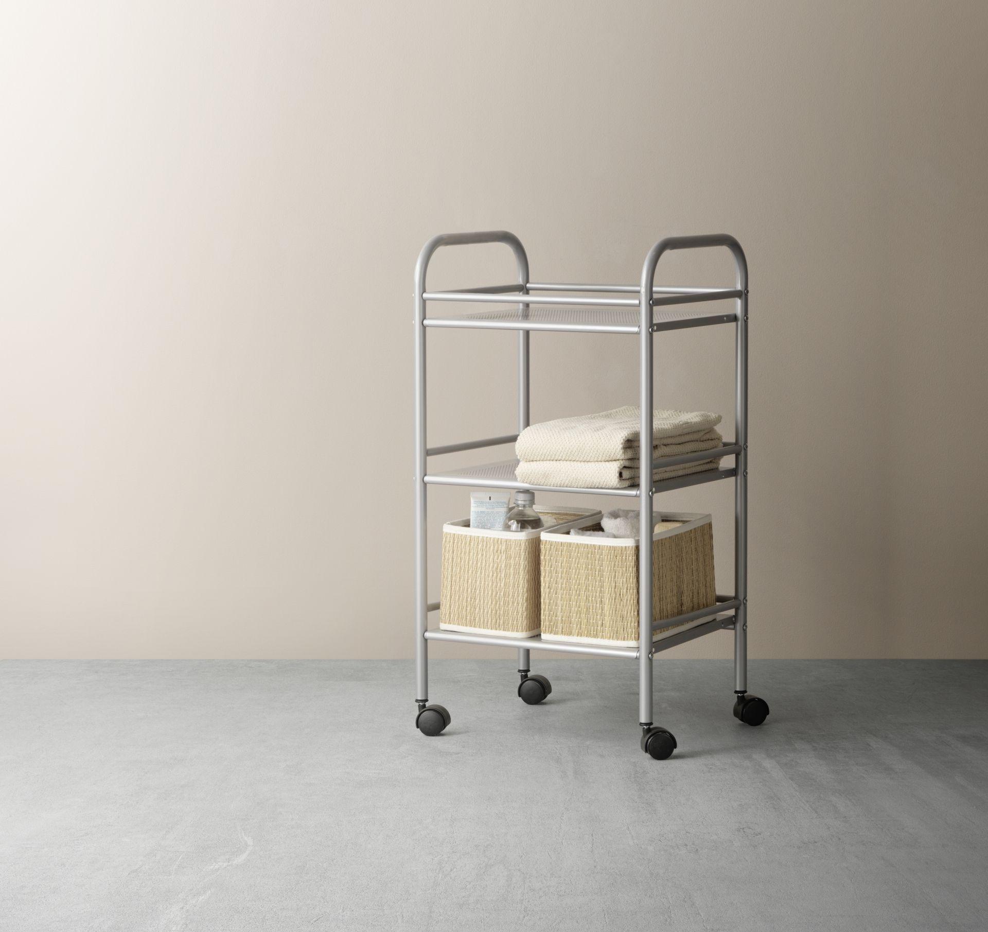 DRAGGAN Kastje op wielen, zilverkleur | Room