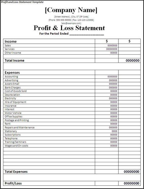 Printable Statement Form | Profit And Loss Statement Form Printable On The Download