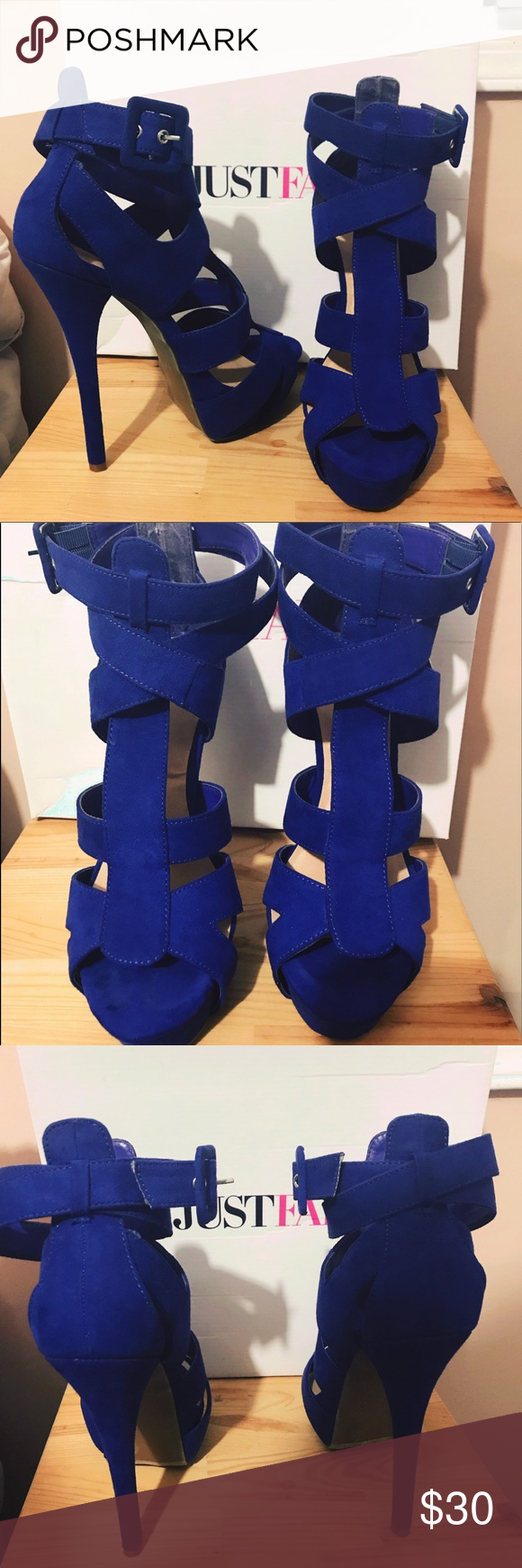 Just Fab brand • Violet heels • Brand new !! Just Fab brand • NEVER WORN • brand new with box • deep violet color • buckle on side • very high heel • size 9. TRADES WELCOME NWT JustFab Shoes Heels
