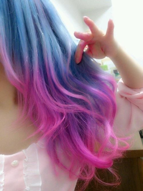 Color Fade Blue And Pink Hair Candy Hair Ombre Hair