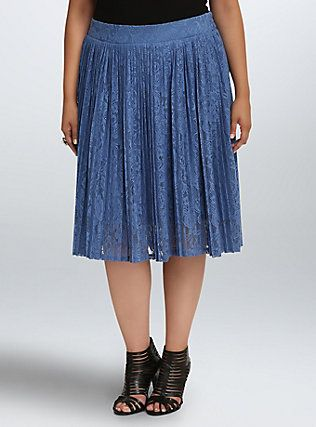 Plus Size Pleated Lace Midi Skirt, DUTCH BLUE | My Torrid Wishlist ...