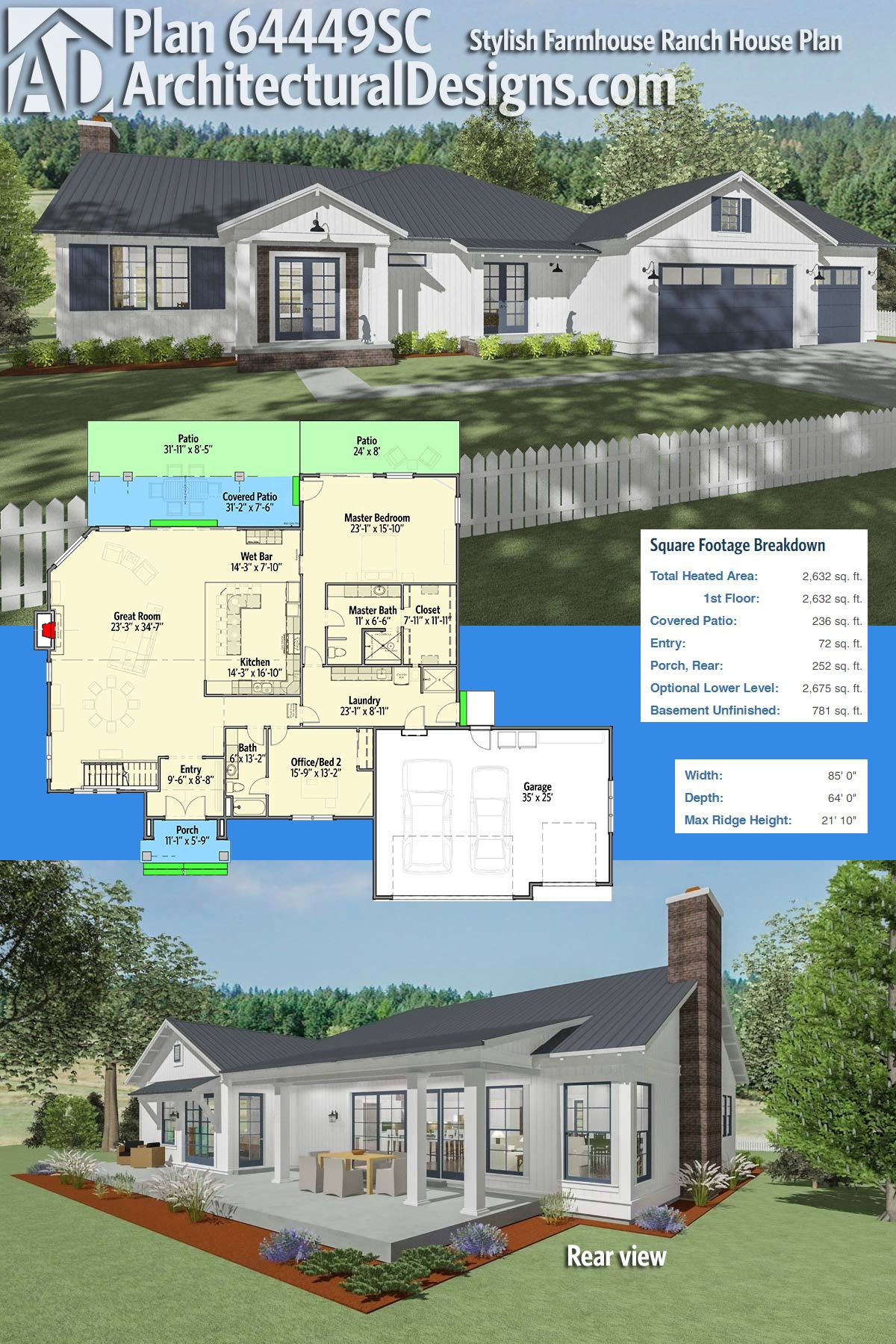 Architectural Designs House Plan 64449sc Is A Modern Farmhouse Ranch With 2 Beds And Expansion In An Optional Fini Ranch House Plan Farmhouse Plans House Plans