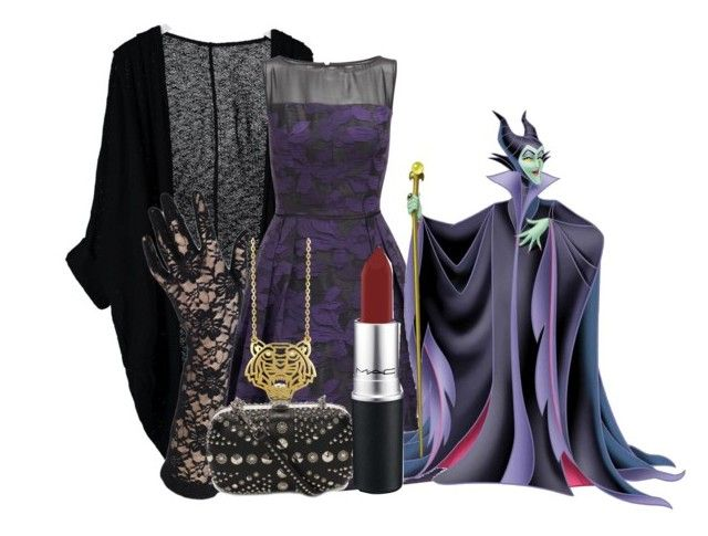 """Maleficent"" by princessmikyrah ❤ liked on Polyvore featuring American Apparel, Adrianna Papell, Alexander McQueen, MAC Cosmetics and Kenzo"