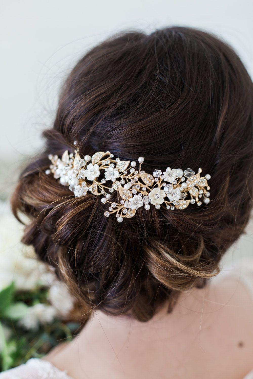 Leaf hair pieces Gold pearl hair pins Gold hairpiece for bridesmaids prom formal Crystal pearl bridal hair pins Wedding hair piece