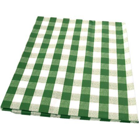 Berrnour Home Vinyl Green Checkered Design Indoor/Outdoor Tablecloth With  Non Woven Backing