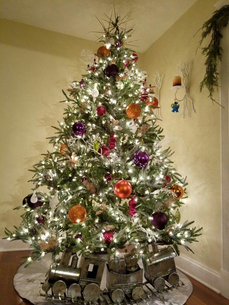 christmas tree purple plum orange white rustic   Christmas ...