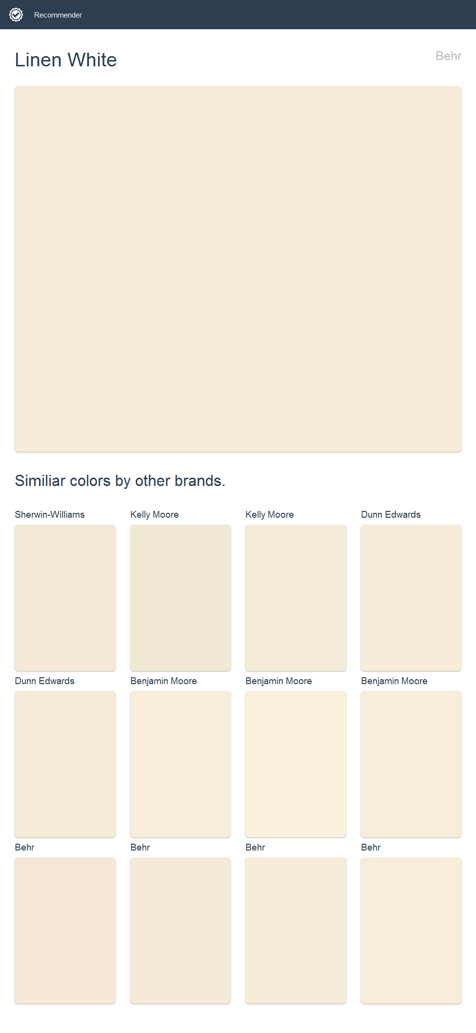 Linen White Behr Click The Image To See Similiar Colors By Other Brands