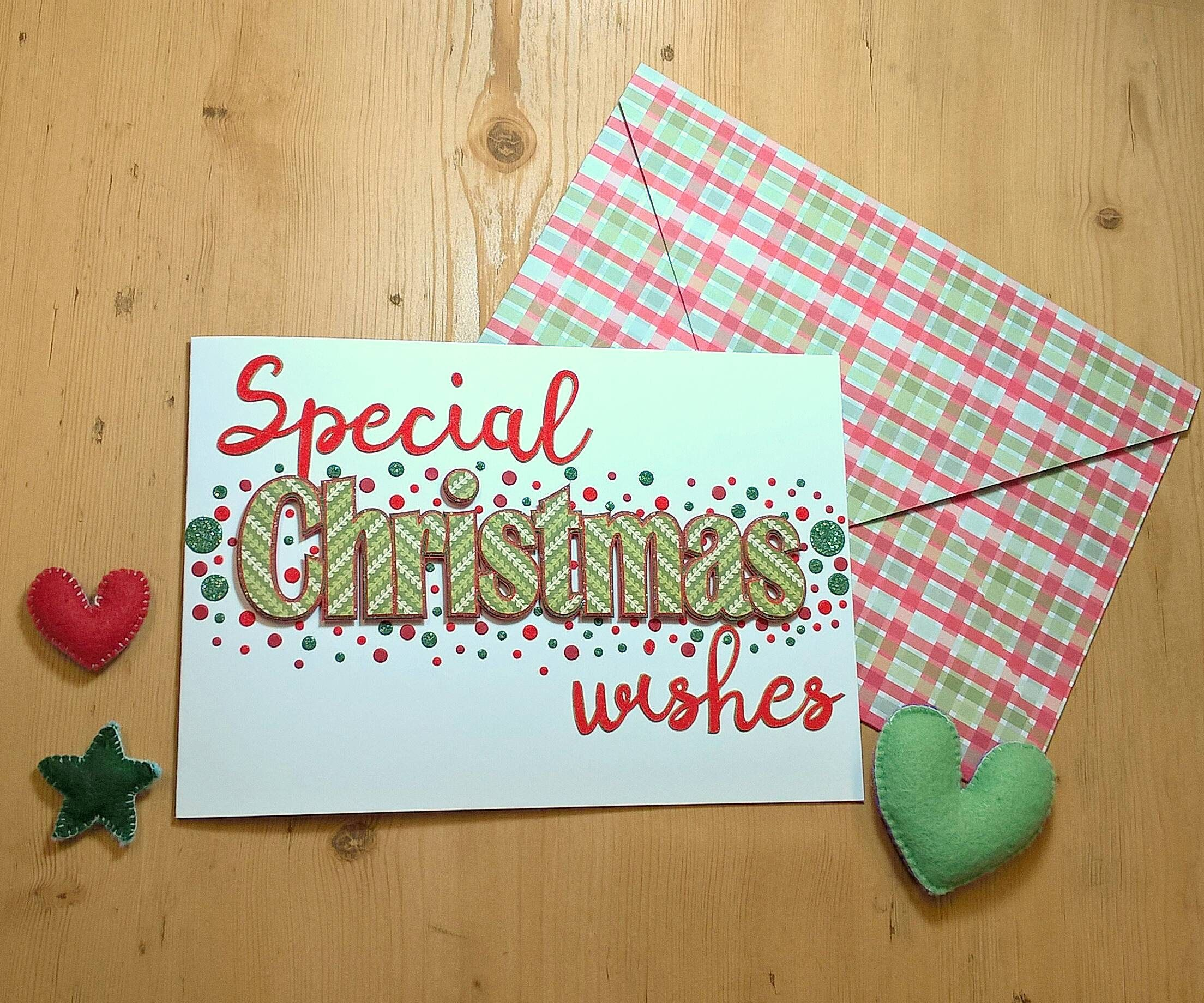 Luxury special christmas wishes handmade christmas card with luxury special christmas wishes handmade christmas card with matching envelope green red m4hsunfo