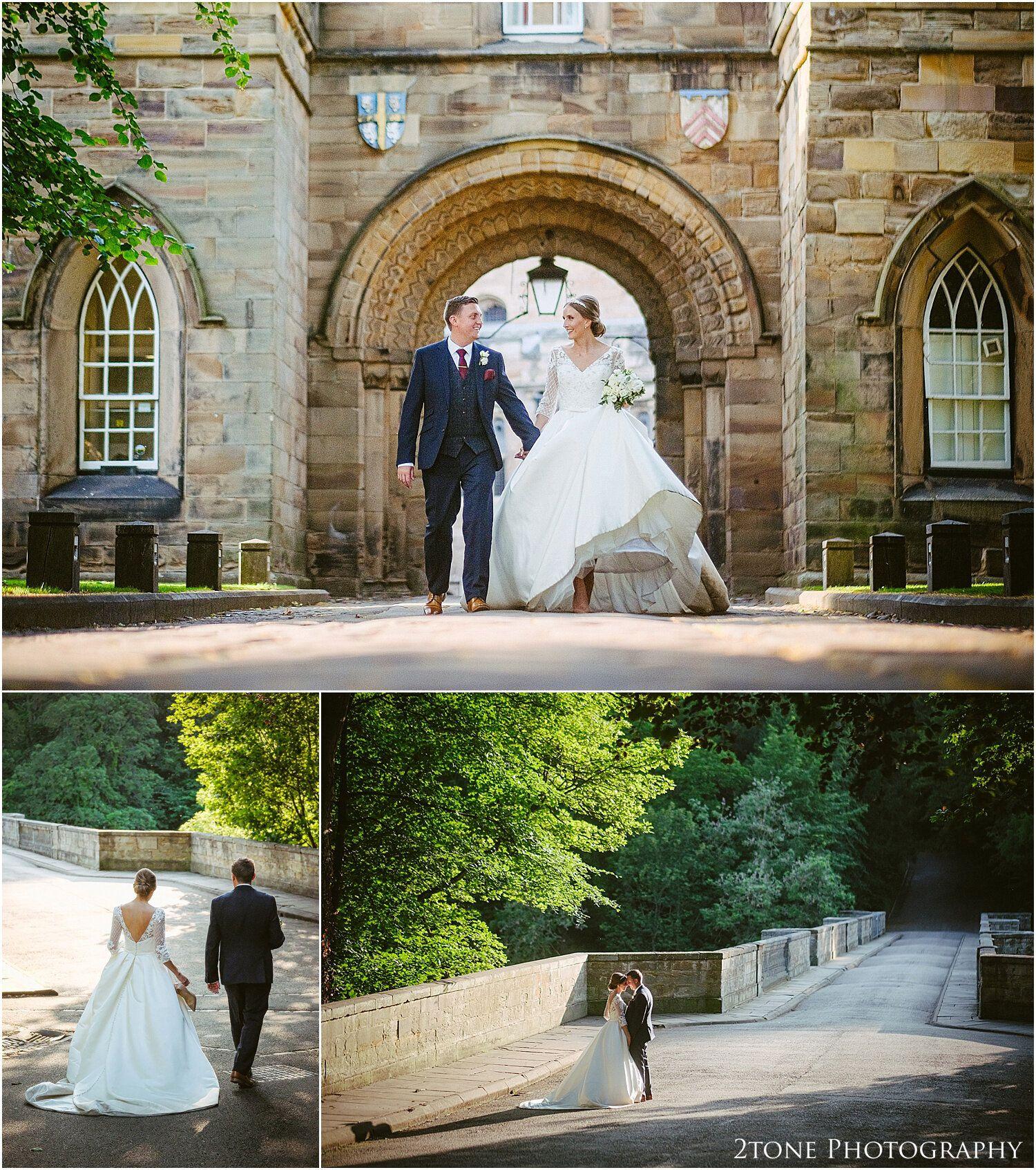 Durham castle wedding teardrop pear shaped bouquet in