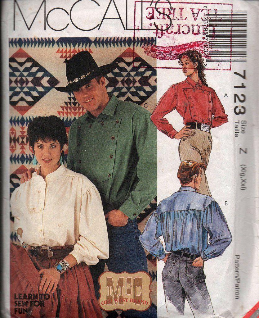 90s Womens Mens UNISEX Western Shirt Pattern McCall\'s 7123 Sizes XL ...