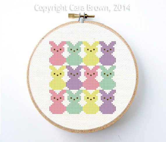 Easter Bunny Cross Stitch Pattern Easy Instant Download Needlepoint cute pastel rabbit