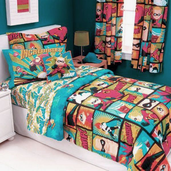 Superheroes Bedding For Kids Room Decor Colorful The Incredibles And Curtain Bedroom