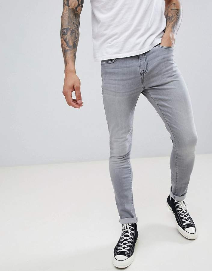 Super Skinny Spray On Jeans in Grey - Grey LDN DNM UywfyAs