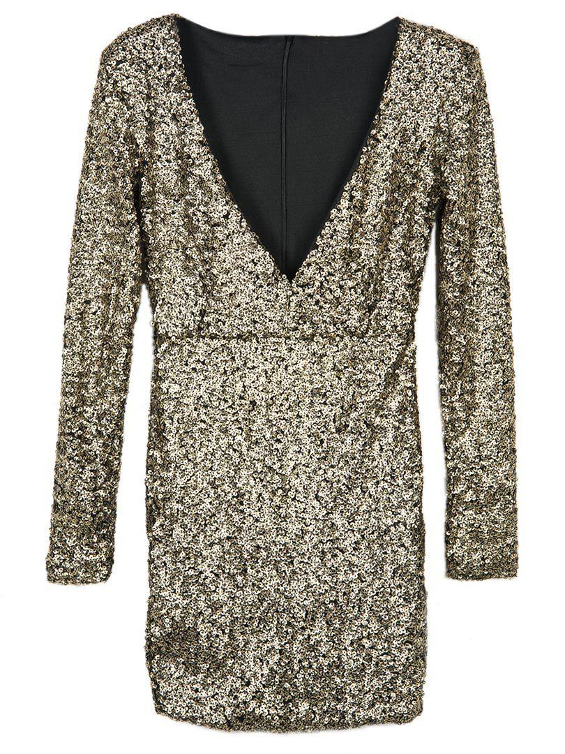 V neck metallic gold sequin long sleeve bodycon dress my style