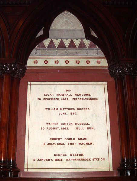 Plaque honoring Shaw in Harvard\'s Memorial Hall, an unusual honor as ...