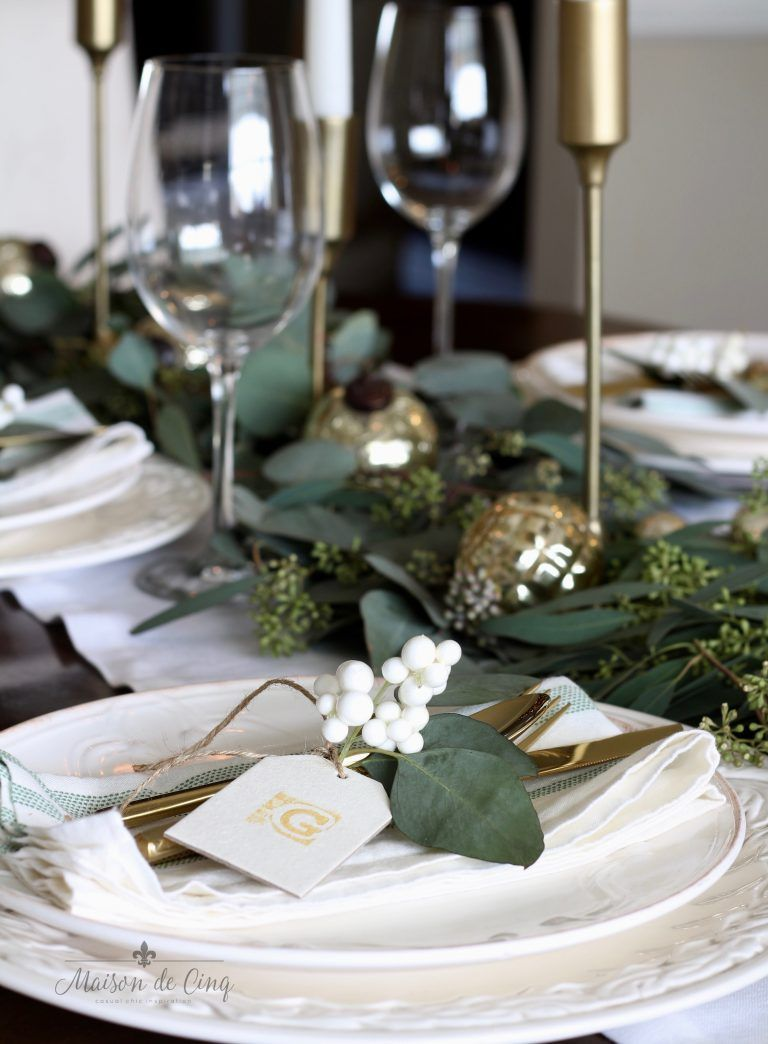 Casual Chic Green And White Christmas Tablescape Green Christmas Decorations Gold Christmas Decorations Christmas Dinner Table