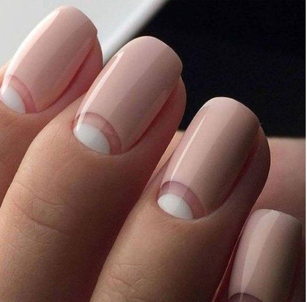 30 Popular Half Moon Nails Art Design Ideas To Try Neutral Nails Neutral Nail Art Designs Neutral Nail Art