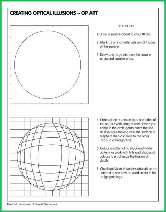 Optical Illusion-Bulge Art Ed Art, Art worksheets, Art critique