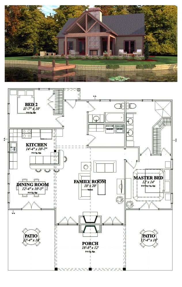 Bungalow Style House Plan 78776 With 2 Bed 2 Bath Bungalow Style House Plans Cottage House Plans Lake House Plans
